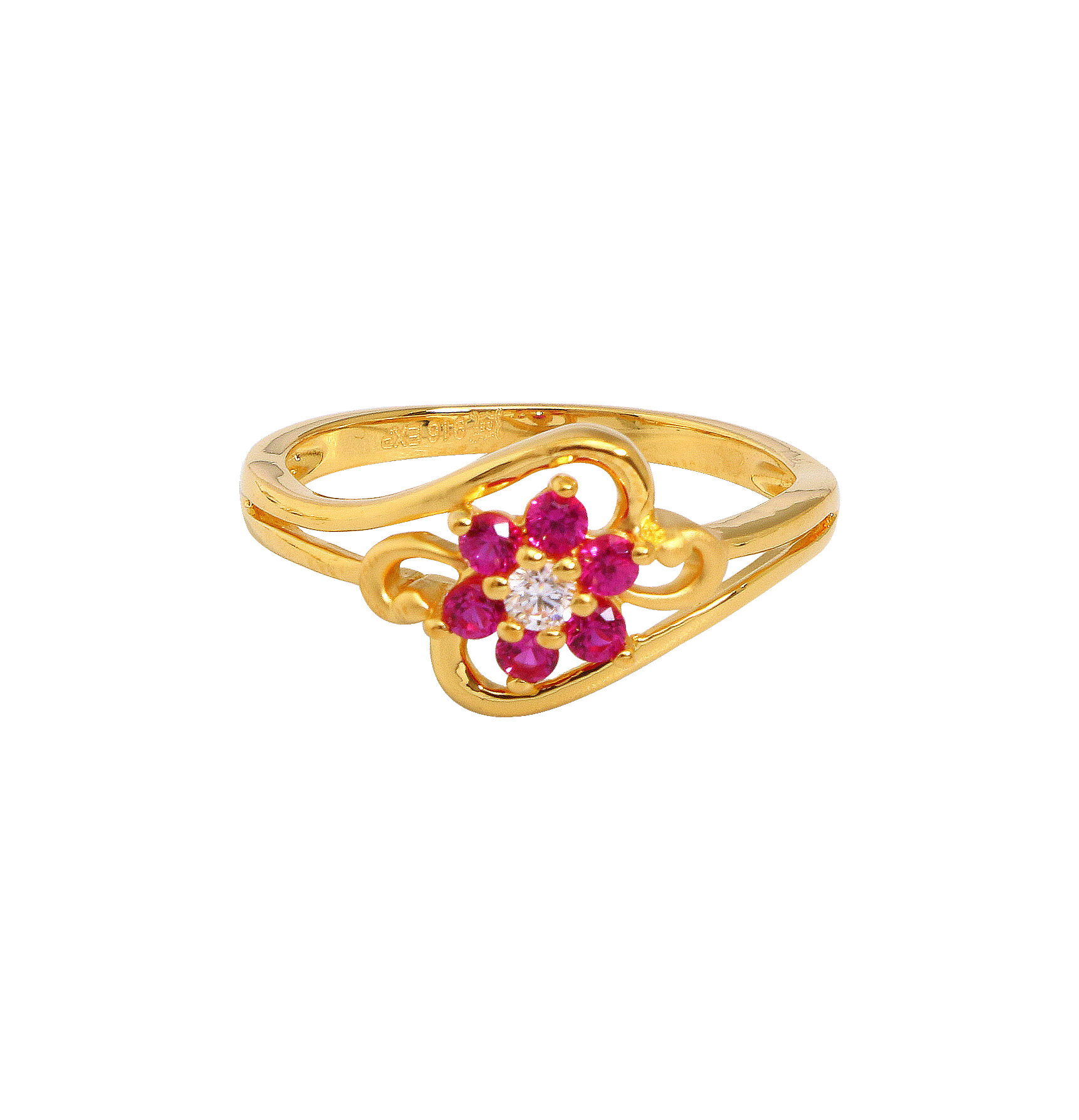 aad1048eb73818 Red stone Studded Floral Gold Ring