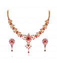 22 KT Gold Ruby Necklace with Earrings Set
