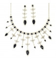 Black Moonstone Chandelier Necklace with Earring