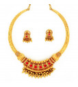 Mozambique Red Rubies Studded Antique Necklace Set