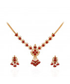 Coral Heart Beads Gold Necklace with Earrings