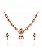 22 Kt Gold Fancy Necklace and Earring Set Studded with Coral
