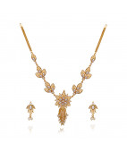 Lotus Blossom Gold Necklace with Pearl Beads