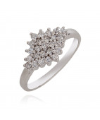 925 Cluster Stone Silver Ring