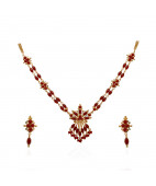 Elegant Designer Coral Beads Gold Necklace