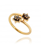 Baby Black Spiral Gold Ring