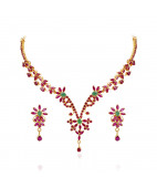 Five Petal Floral Ruby & Emerald Necklace