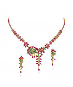 Swirl Design Ruby & Emerald Gold Necklace