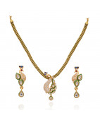 Elegant Spring Chain With White Stone Peacock Gold Necklace With Earrings
