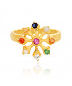 Classic Wheel Shape Navaratna Stones Gold Ring