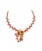Beautifully Crafted Sparkling Sparrow Necklace with Rubies