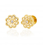 Single Stone Gold Flower earring