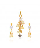 Duo Tone Hanging Stars Gold Pendant Set