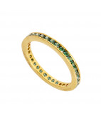 Green Stone Channel Setting Ring