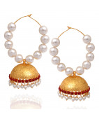 Elegant Pearl Beads With Red Stones Link Silver Earrings
