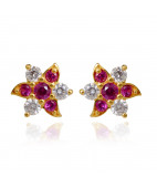 Dual color Cubic Zirconia Gold Stud