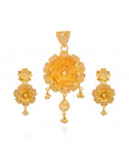 22KT Yellow Camellia Flower Gold Pendant Set