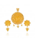 22KT Single Flower With Dancing Balls Gold Pendant Set