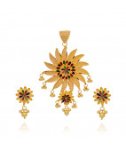 22KT Dancing Balls Flower Pendant Set With Daisy Earrings