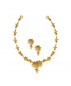 Daisy Flower Gold Necklace Set