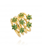 Green Stone Cluster Flower Gold Spiral Ring