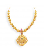 Modern and Stylish Gold Pendant Attached with Balls Chain