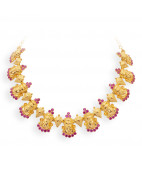 Traditional Gold Kathakali Face Necklace Studded with Kempu Stones