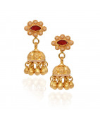 Elegant Gold Beads With Red Stone Studded Gold Jimmiki