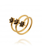 Black Stone Three Flowers 22KT  Gold Ring