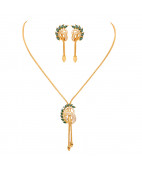Daily Wear Spring Leaf Gold Necklace Set
