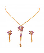 Daily Wear Stone Studded Floral Gold Necklace Set