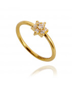 Cubic Zirconia Seven Stone Flower Ring