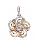 Duo Tone Flower Diamond Pendant