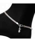 Box Chain Silver Anklet