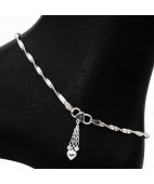 Twist Chain Silver Anklet