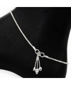 Box Chain Silver Anklet With Jingles