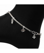 Dual Heart Charms Silver Fancy Anklets
