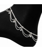 Plain X Chain with two step Jalra Silver Anklets