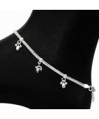 Daisy Charms Fancy Silver Anklets