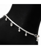 Twist Chain Silver Anklets with Little Heart Charms