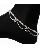 Enameled Flower Silver Anklet With Charms