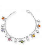 Stunning Silver Beed and Heart Charms Bracelet