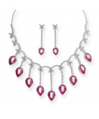 Long Pendulam Drop Color Stone Necklace Set