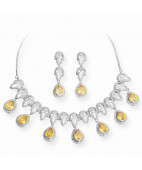 Lime Stone Pear Drop Silver Necklace Set