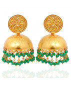 Beautiful Green Beads With Round Shape Hanging Silver Earrings