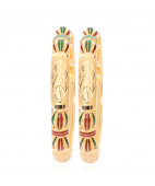 Red & Green Enamel Gold Bangles