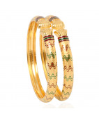 The Enameled Waves Gold Bangles