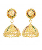 22KT Gold Bead With Colour Stones Earrings