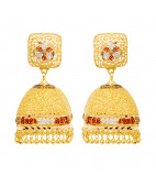 Square Shape With Hanging Gold Earrings