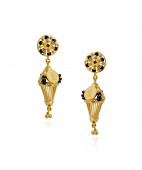 Black Enamel 22KT Yellow Gold Earrings